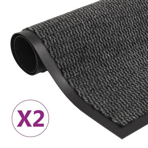 vidaXL Schmutzfangmatten 2 Stk. Rechteckig Getuftet 40x60 cm Anthrazit