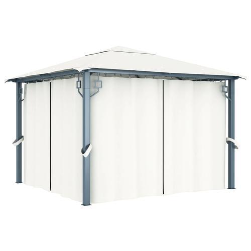 vidaXL Pavillon mit Vorhängen 300 x 300 cm Creme Aluminium