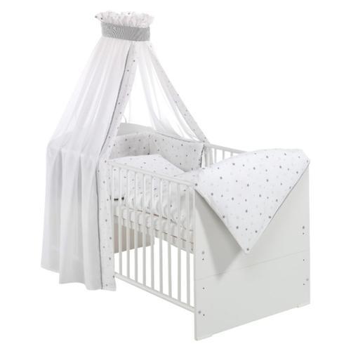 Kinderbett CLASSIC LINE WEIß komplett, weiß, 70 x 140 cm, Sternchen grau