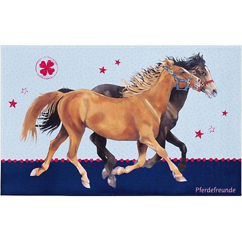Kinderteppich Pferdefreunde, blau, 140 x 200 cm