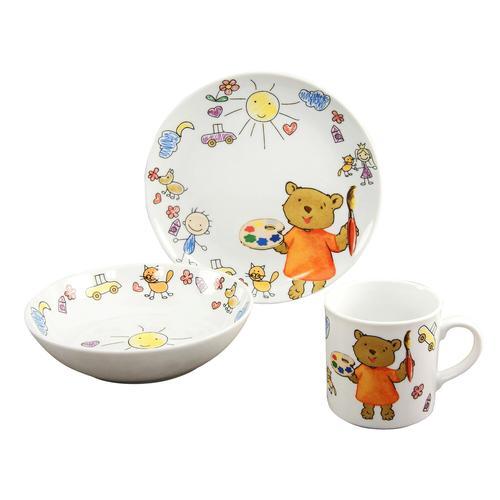 CreaTable 15027 Kindergeschirr-Set Teddy für 1 Personen, Porzellan, bunt (1 Set, 3-teilig)
