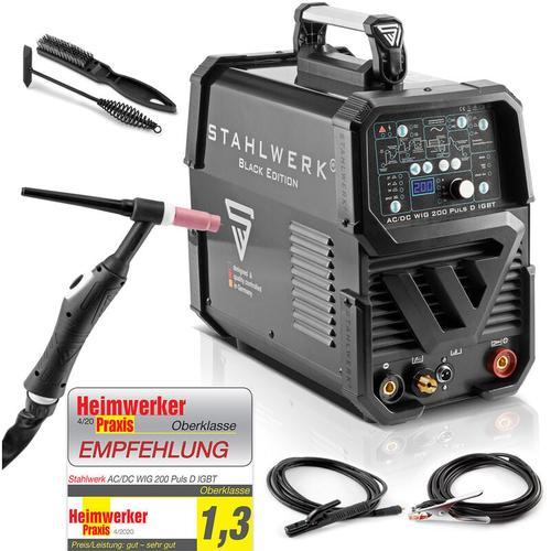 STAHLWERK AC/DC WIG 200 Puls D IGBT, Schwarz, digitales Schweißgerät mit 200 Ampere WIG MMA,