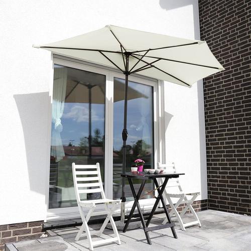 Balkon-Sonnenschirm 270×135 cm Halbrund Sonnenschirm UV 50+, Creme