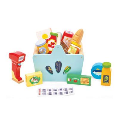 Le Toy Van - Wooden Shopping Basket & Grocery Set & Scanner