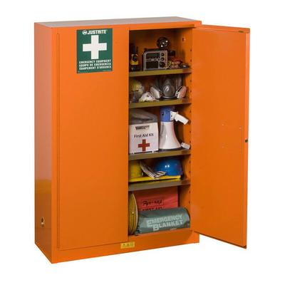 "Justrite 860001 Emergency Preparedness Storage Cabinet w/ (4) Shelves - 43""W x 18""D x 65""H, Steel, Orange"