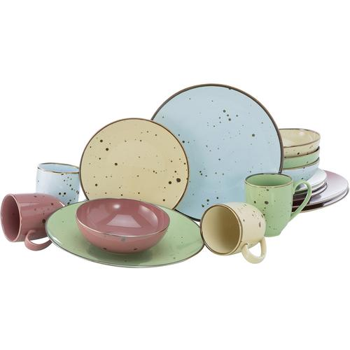 CreaTable Kombiservice Cottage Pastell, (Set, 16 tlg.), 4 pastellige Farben im Set bunt Geschirr-Sets Geschirr, Porzellan Tischaccessoires Haushaltswaren