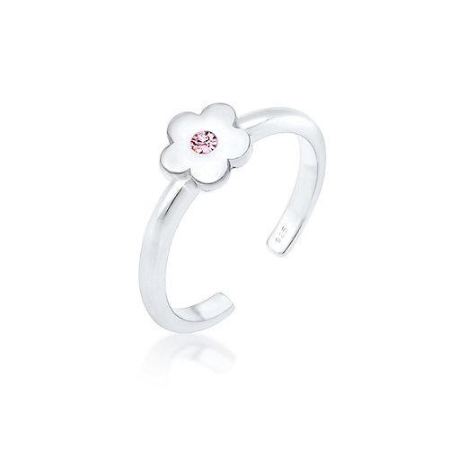 Elli Ring Kinder Blume Kristall 925Er Silber Ringe silber Mädchen Kinder