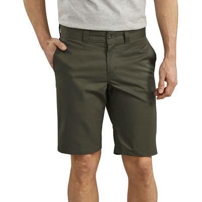 "Dickies Men's 11"" Slim Flex Twill Work Shorts - Olive Green Size 34 (WR894)"