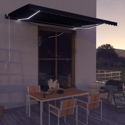 vidaXL Einziehbare Markise mit Windsensor & LED 600x300cm Anthrazit