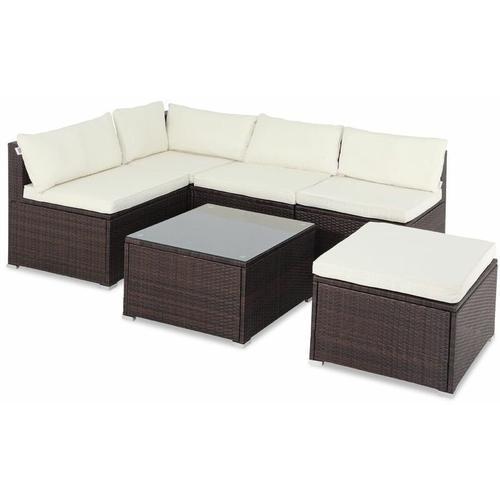 Poly Rattan XL Lounge Set Auflagen & Kissen Gartenlounge Sitzgruppe Gartenmöbel Set braun/creme
