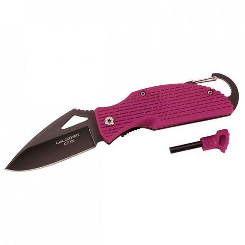 Herbertz - Einhandmesser mit Feuerstarter - Messer schwarz/rosa