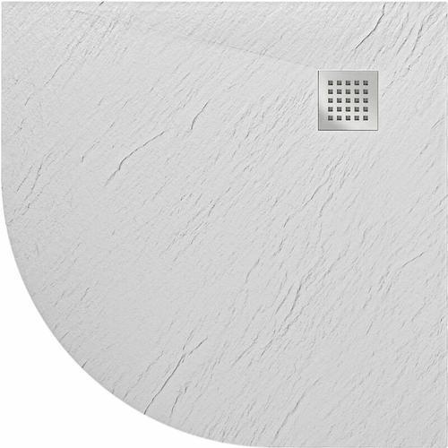 Duschwanne 90x90x2,6 CM Halbrund Weiß Stein-Effekt Mod. Blend