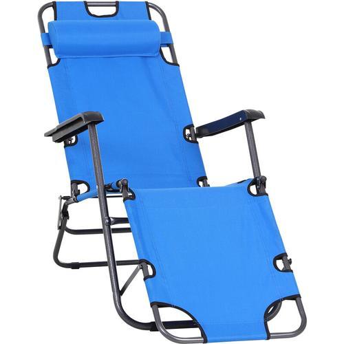 ® Strandliege Sonnenliege Relaxliege Gartenliege Klappbar 2-Stufig Kissen Blau - blau - Outsunny