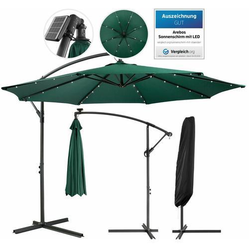Arebos Sonnenschirm mit LED 3 m grün - Ampelschirm - grün