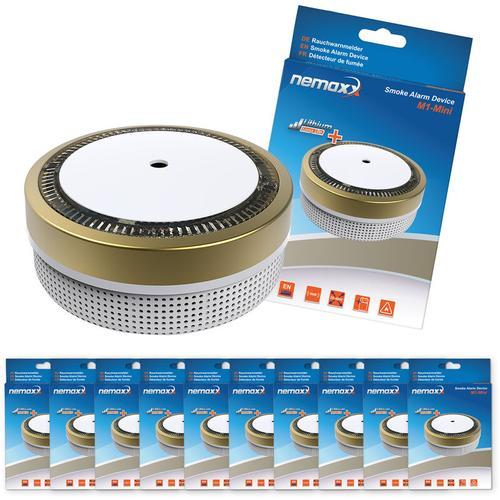 10x Nemaxx M1-Mini Rauchmelder - sensibler, photoelektrischer Rauchwarnmelder mit Lithiumbatterie