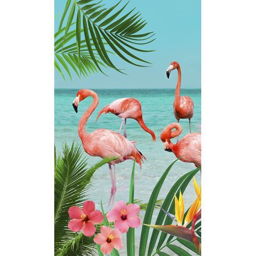 good morning Strandtuch Flamingo, (1 St.), mit Flamingos bunt Handtücher Badetücher