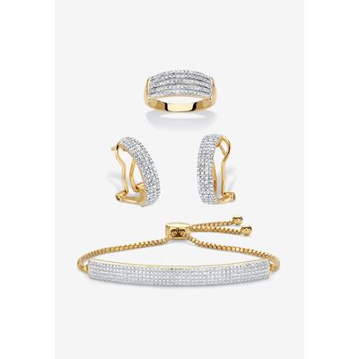 """18K Gold-Plated Diamond Accent Demi Hoop Earrings, Ring and Adjustable Bolo Bracelet Set 9"""" by PalmBeach Jewelry in Gold (Size 8)"""