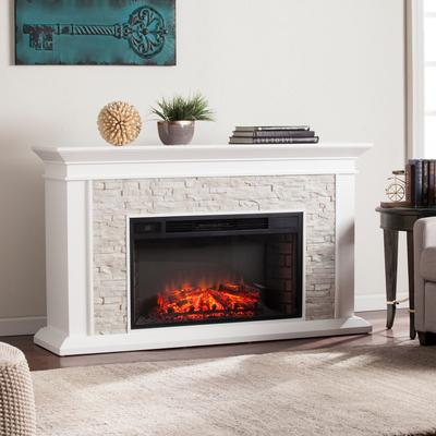 Canyon Heights Faux Stacked Stone Electric Fireplace by BrylaneHome in White