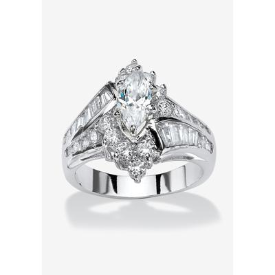 Platinum-Plated Marquise Engagement Ring Cubic Zirconia by PalmBeach Jewelry in Silver (Size 7)