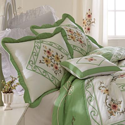 Ava Embroidered Cotton Breakfast Pillow by BrylaneHome in Green