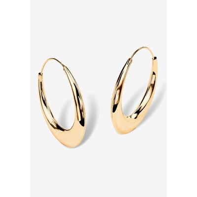 Plus Size Women's Yellow Gold over Sterling Silver Puffed Hoop Earrings (47mm) by PalmBeach Jewelry in Gold