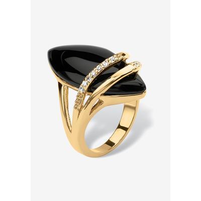Plus Size Women's 18K Gold Black Onyx & Cubic Zirconia Ring by PalmBeach Jewelry in Gold (Size 6)