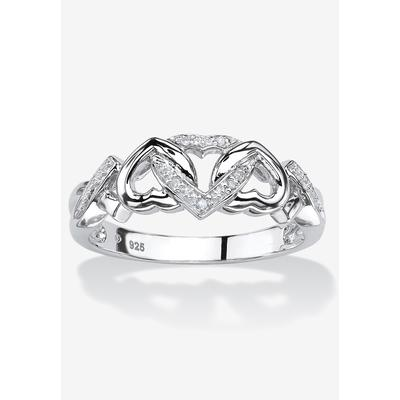 Plus Size Women's Platinum & Silver Promise Ring with Diamond-Accent by PalmBeach Jewelry in White (Size 7)