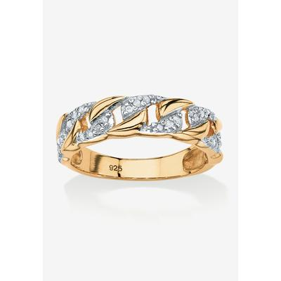 Plus Size Women's Gold & Sterling Silver Link Ring with Diamonds by PalmBeach Jewelry in Gold (Size 6)