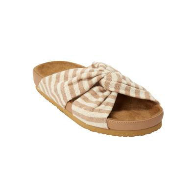 Extra Wide Width Women's The Reese Footbed Sandal by Comfortview in Khaki (Size 9 1/2 WW)