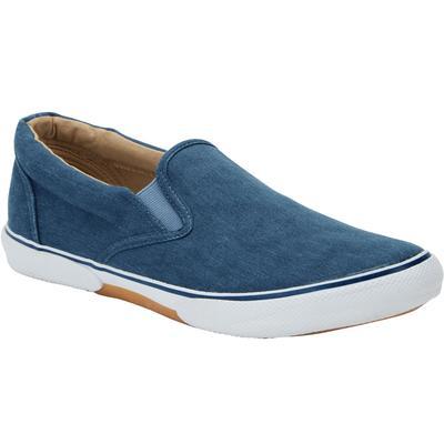 Wide Width Men's Canvas Slip-On Shoes by KingSize in Stonewash Navy (Size 14 W)