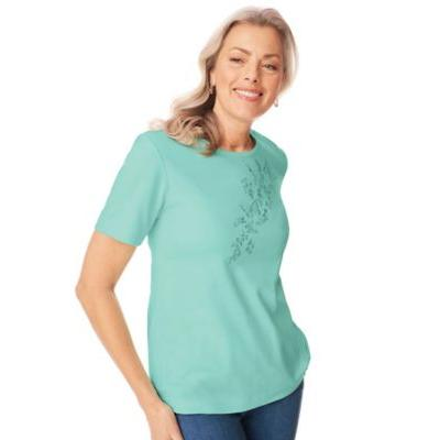 Women's Plus Butterfly Embroidered Top, Beach Glass Green XL