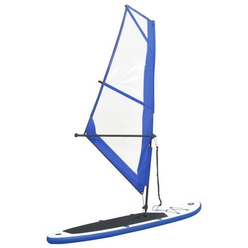 vidaXL Aufblasbares Stand-Up-Paddleboard Set mit Segel Blau und Weiß