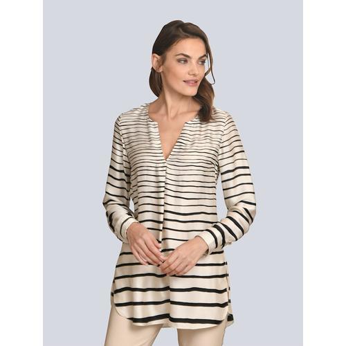 Alba Moda, Bluse aus satinierter Ware, weiß