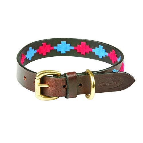 WeatherBeeta Hunde-Halsband Polo Leder-Hundehalsband, Textil, (1 St.) rosa Hundehalsbänder Hund Tierbedarf