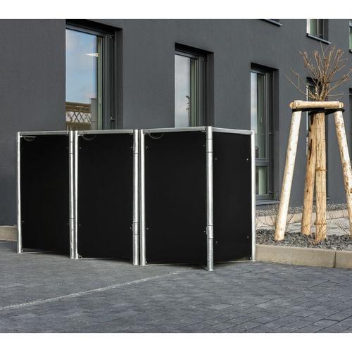 Mülltonnenbox 240l Kunststoff; 3er Box schwarz 3er Box - Hide