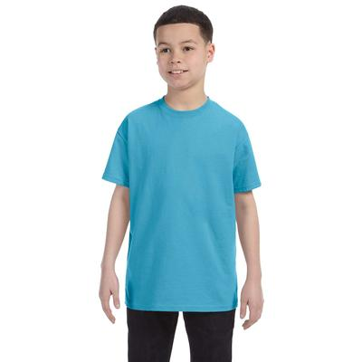 Jerzees 29B Youth 5.6 oz. DRI-POWER ACTIVE T-Shirt in Aquatic Blue size Small | Cotton Polyester 29BR