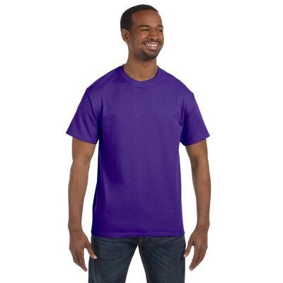 Hanes 5250T Men's Men's 6 oz. Authentic-T T-Shirt in Purple size Medium | Cotton 5250