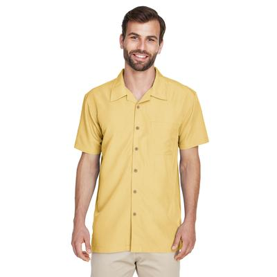 Harriton M560 Men's Barbados Textured Camp Shirt in Green Apple size Small