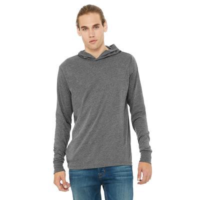 Bella + Canvas 3512 Jersey Long-Sleeve Hoodie T-Shirt in Deep Heather size XL