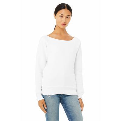 Bella + Canvas 7501 Women's Sponge Fleece Wide Neck Sweatshirt in Solid White Triblend size Medium