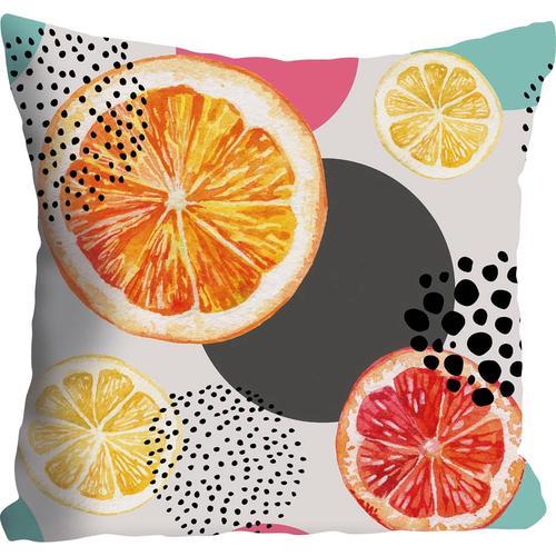 queence Kissenhülle Julia, (1 St.), mit Orangen und Zitronen orange Kissenbezüge gemustert Kissen