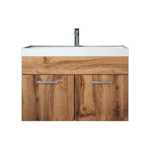 Badezimmer Badmöbel Set Paso 01 80cm Waschbecken Wotan (braun) - Unterschrank Schrank Waschbecken