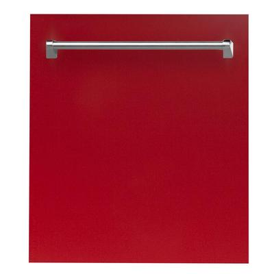 ZLINE Kitchen and Bath 24 in. Top Control Dishwasher in Red Gloss with Stainless Steel Tub and Tradi