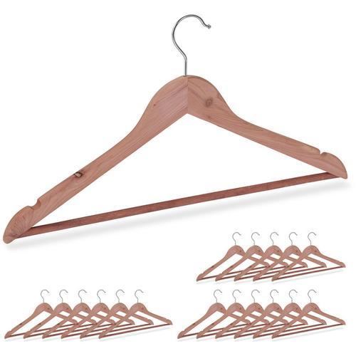 18 x Kleiderbügel Zedernholz, Mottenschutz im Kleiderschrank, edles Design, eingekerbt, B: 44 cm,