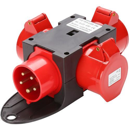 Adapter Stromverteiler 3 x CEE 400V/16A 5 Polig CEE-Steckdose IP44 Spritzwassergeschützt Mit