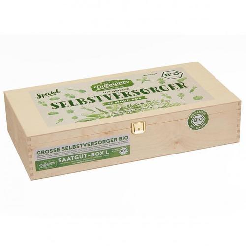 Saatgut-Holzbox Selbstversorger, 22 BIO-Saatgut-Sorten