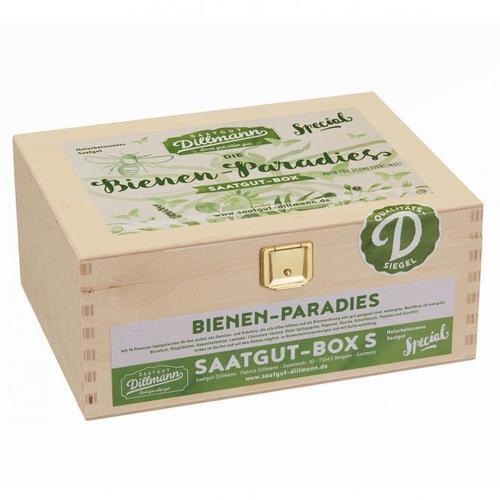 Saatgut-Holzbox Bienenparadies, 8 Saatgut-Sorten