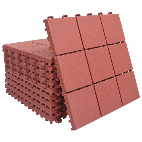 vidaXL Terrassenfliesen 10 Stk. Rot 30 x 30 cm Kunststoff