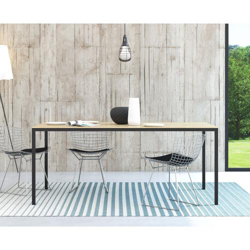 my home Esstisch Family, mit einer kratzfesten Melamienbeschichtung auf der Tischplatte, elegante Metallbeine braun Holz-Esstische Holztische Tische
