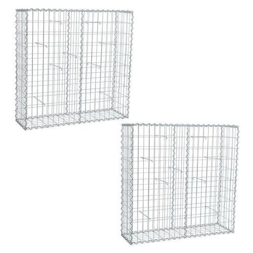 Gabionen 100 x 100 x 30 cm 2er Set Stein Korb Draht Gitter Metall Sichtschutz
